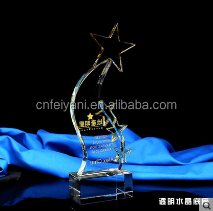 JB-074 Popular Customized Name engravable K9 Crystal Trophy with star