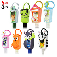 Silicone alcohol hand sanitizer gel case cover cute antibacterial keychain holder