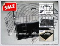 2 or 3 Doors Pet Folding Dog Crate Cage Kennel W/DIVIDER
