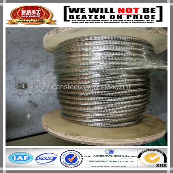 304 and 316 Fiber core or steel core Stainless Steel Wire Rope for oill drilling