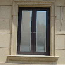 Two pane aluminium alloy glass blind louvers casement window