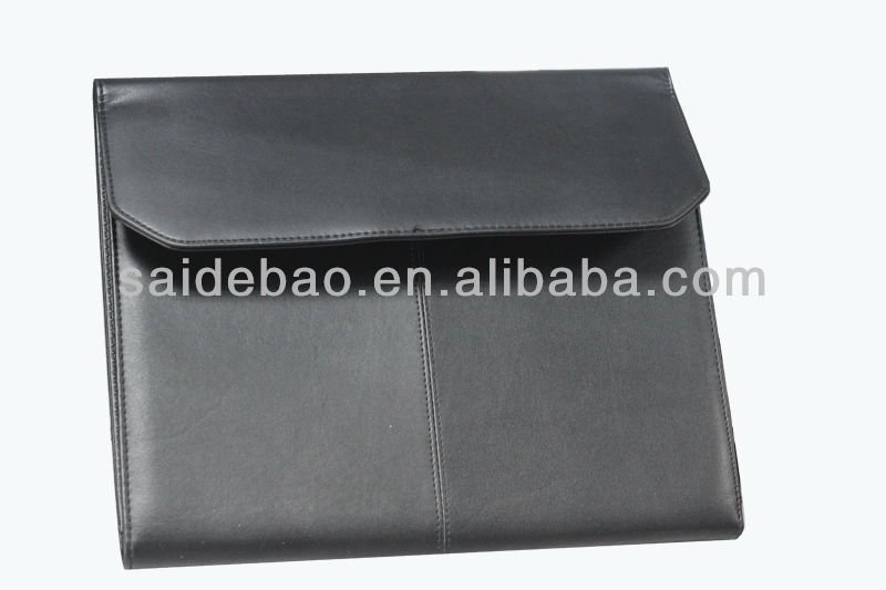 Skillful manufacture A4 leather portfolio/Black leather portfolio with solar calculater, pu/genuine leather file/document holder