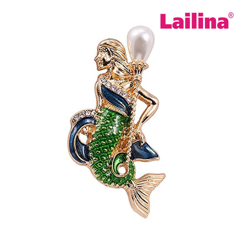 New Design Figure Mermaid Brooch Pins Pearl Rhinestone Crystal Green Enamel Unique Popular Banquet Brooches Jewelry