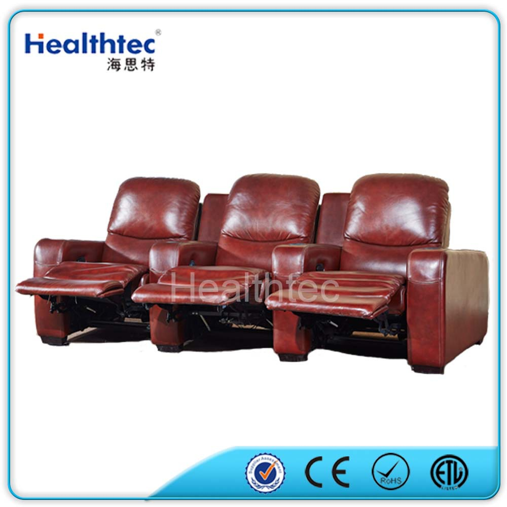 Auto reclining home cinema leather sofa with 3 seater