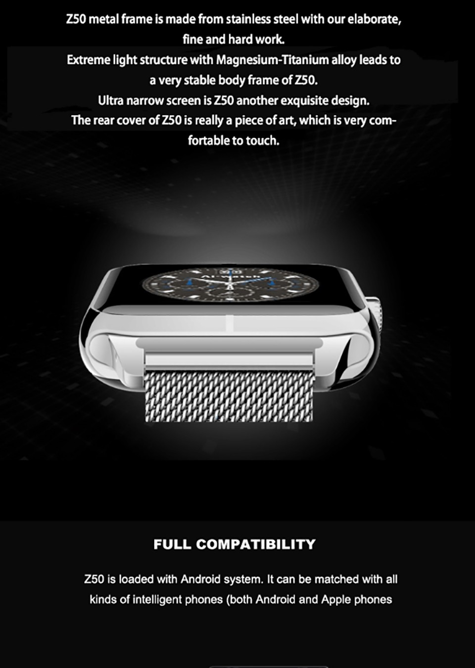 1.54 Inch IPS Capacitive Touch Scren Pedometer BT Smart Watch Z50