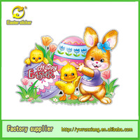 Easter day's sticker removable mirror rabbit & hen sticker