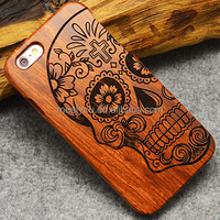 Laser engrave wooden phone covers cool Skull shape custom cell phone cases for iphone 5 5S 5se