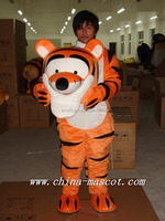 100% in kind shooting tiger mascot adult size plush costuume