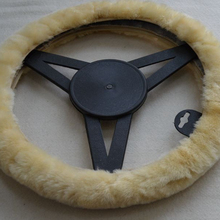 Beige Genuine Patchwork Car Deco Sheepskin Auto Steer Wheel Covers