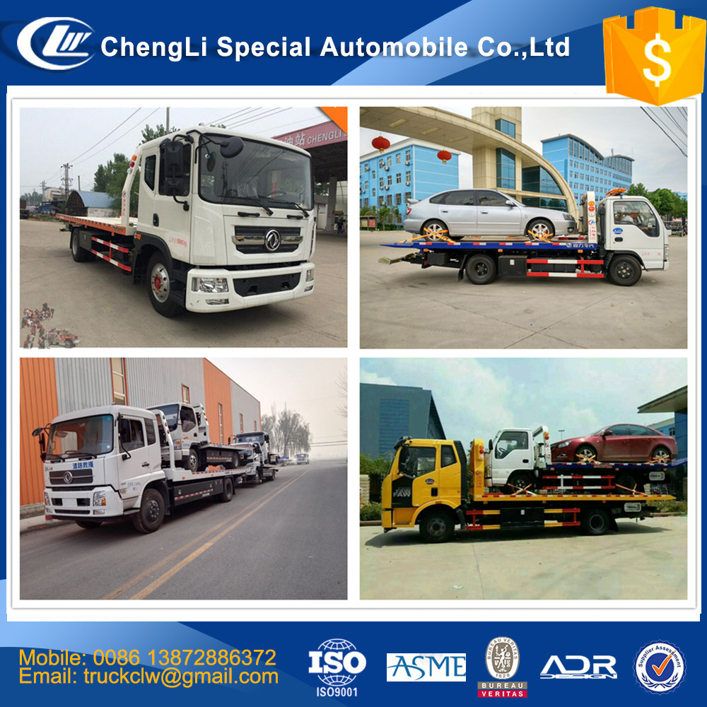 Highway Emergency Car Carrier Wrecker Tow Truck 10 ton cheap price 4x2 One Drive Two Flatbed Recovery Towing Vehicle Customized