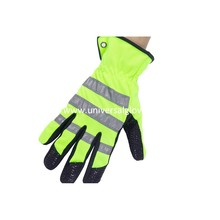 Microfiber With Silicon Printing Cow Split Leather Work Glove /Safety Glove/ Fireman Glove