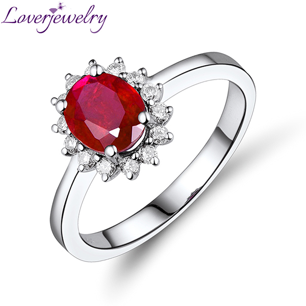 Solid 18K Ring Jewelry White Gold Natural Diamond Oval Red Ruby Ring Design For Women WU222