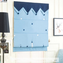 Kid room cord lock metal headrail blue color blackout elegant embroidered horizontal roller Roman shade/blind