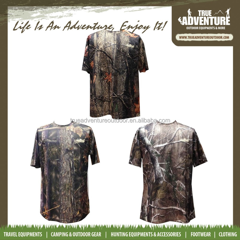 True Adventure TA1-003A real tree pattern short-sleeved camo woodland men's camo t shirt for hunting