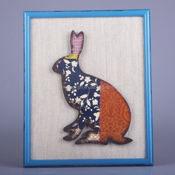 Wall hanging decoration with the 3D color rabbit with the fabric background