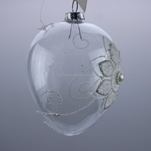Wholesale Clear glass ball hanging ornaments with decorative flower