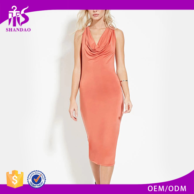 Guangzhou Shandao New Arrivals Pleated V Neck Sleeveless Midi Bodycon Office Dress For Ladies 2017