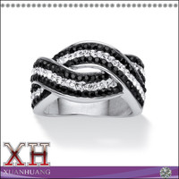 Rhodium-Plated Pave Jet Black and white Crytsal Twisting Crossover Ring Made with Color Fun