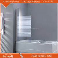 YY Home China factory modern 3 fold tempered glass shower bathtub screen, shower screen for bath tub