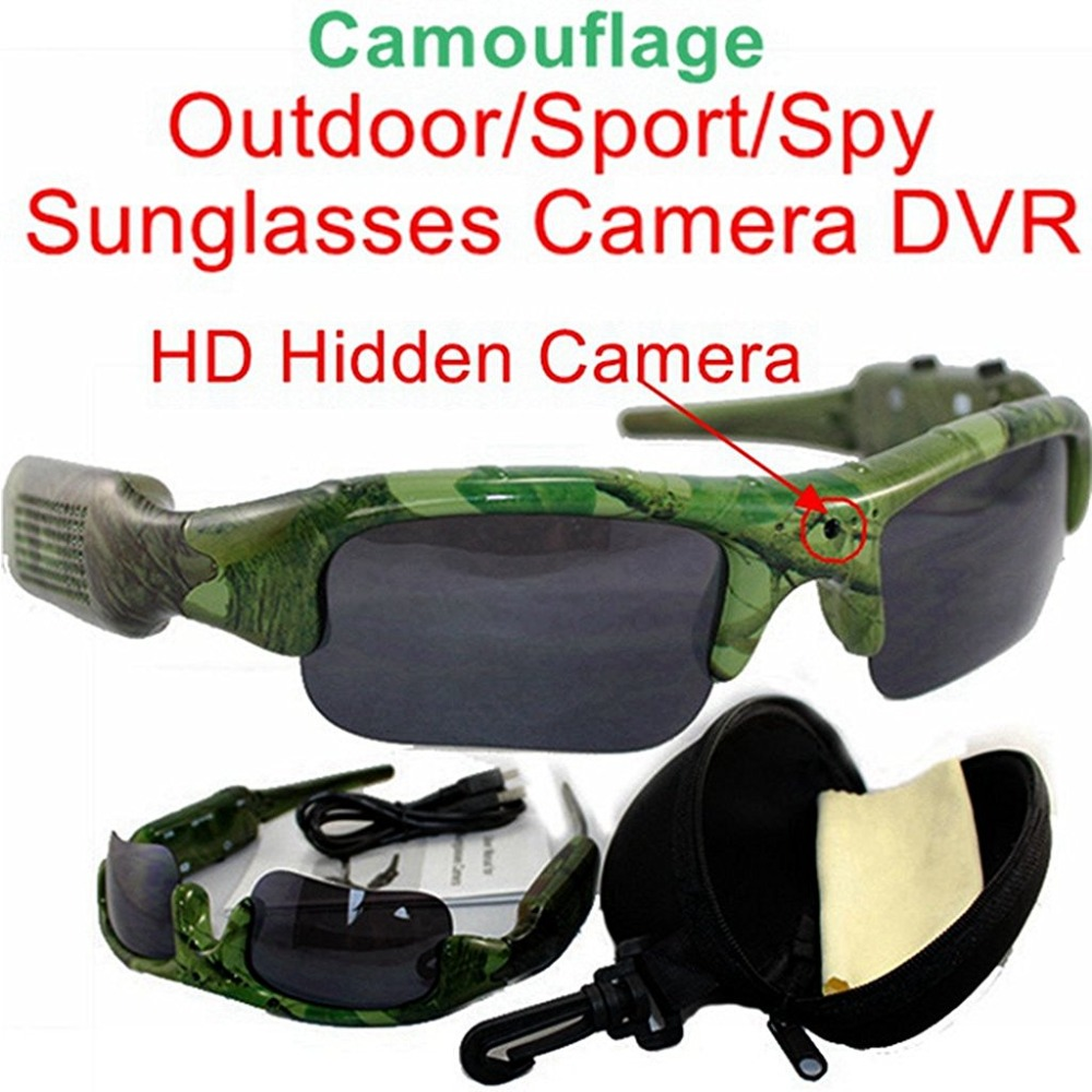 Camouflage Green Micro Camera Sunglasses Mini DV Camcorder Recorder Outdoor Sport Video Recorder Sunglasses