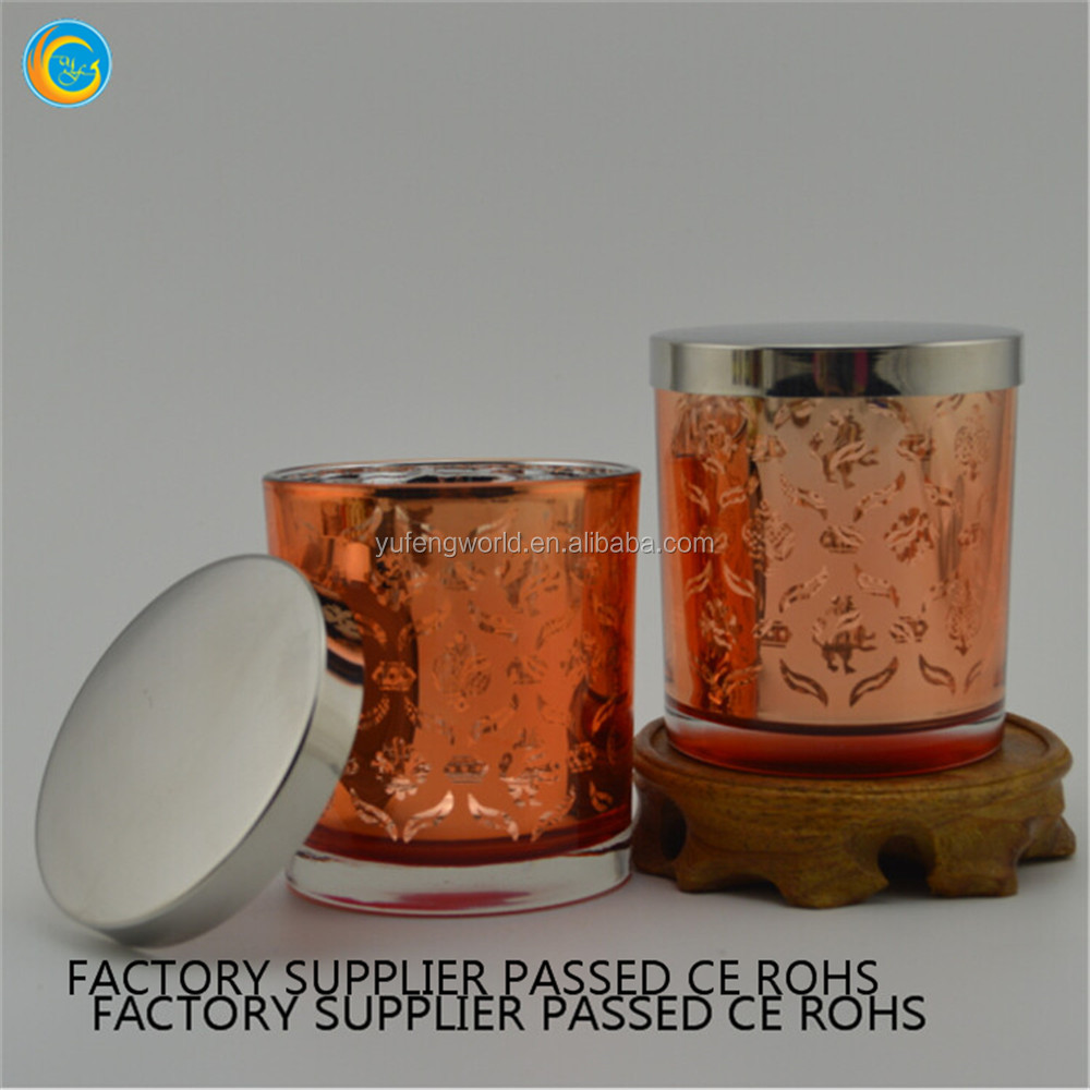 plating glass candle cup copper candle holder container with lid
