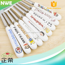Creative ceramic handle stainless steel coffee long spoon / children cutlery set