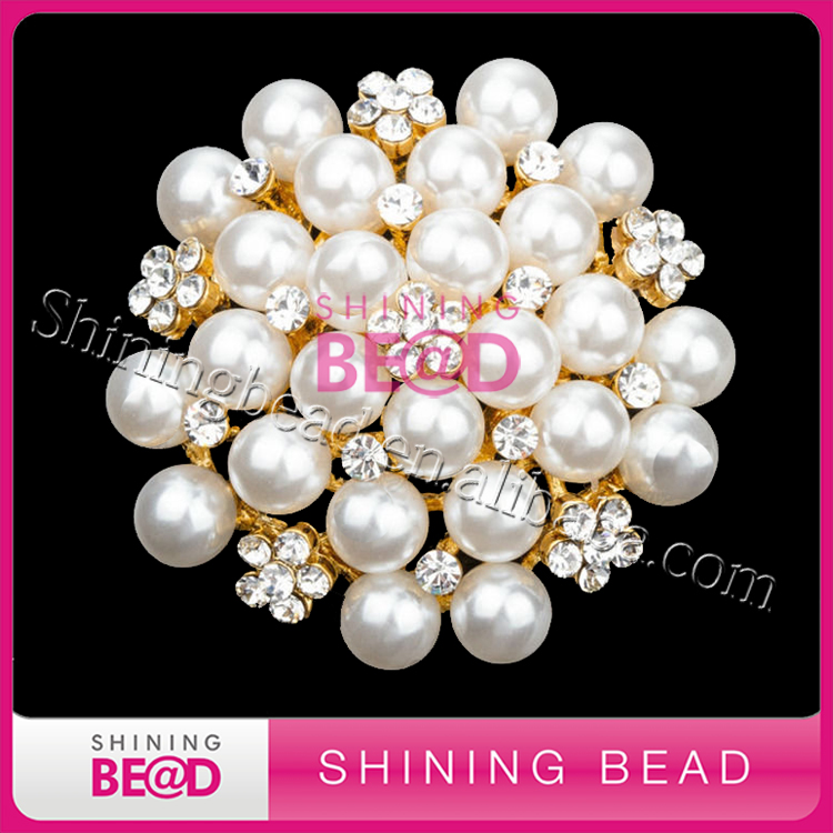 Silver or gold diamante rhinestone pearl flower brooches for wedding decoration