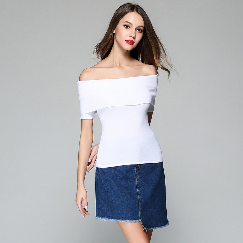 Autumn new design fashion kintted strapless sweater for woman