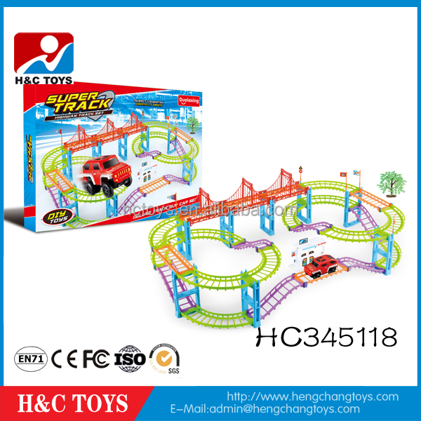 Hot sale 82PCS rail car toy super electric magic track car toy HC345118