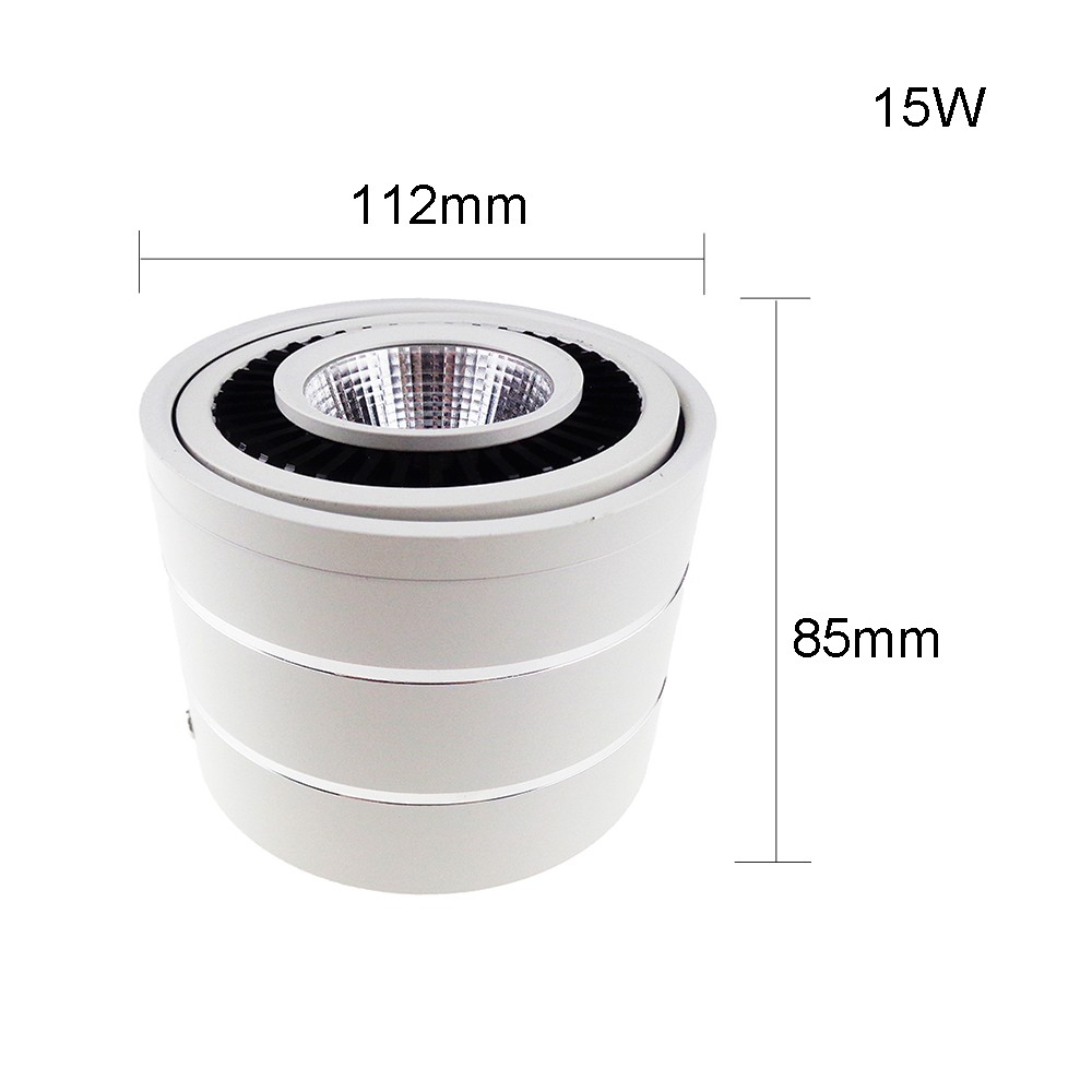 Led Downlight 1 piece 15W Dimmable COB spot ceiling lamp 360 degree rotating 3 colors AC220V/AC110V surface mounted VR