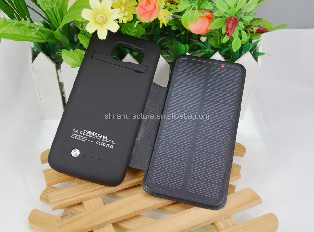 4200mah ultra thin solar charger green saving carbon external battery case power bank for Samsung Galaxy S6