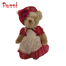 Wholesale plush brown teddy bear with beautiful cloth