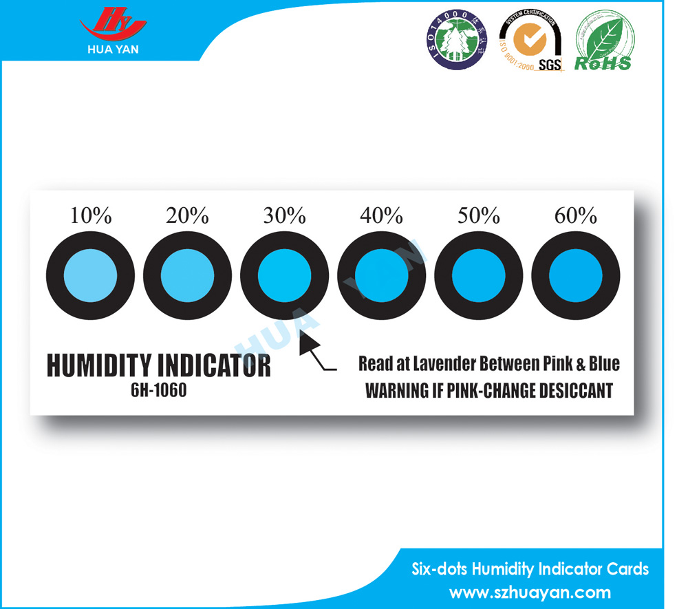 Hot Sale PCB packing Humidity Indicator Card 10% to 60%