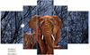 hot sale 5piece Elephant printed canvas wall picture in a discount price , group painting 68090