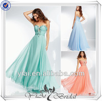 QQ560 Long light green and peach evening dinner dress flowing chiffon evening dress