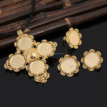 Ethiopian Gold Big Coin Cross Pendant Set Jewelry Wedding Gold Pendant Necklace Earrings Ring