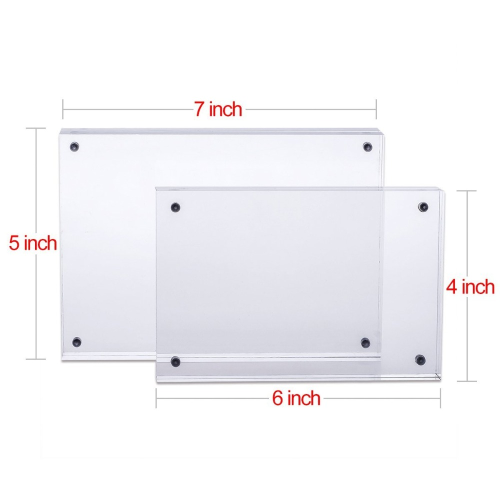acrylic picture frame 5x7 double sided magnetic photo frames frameless desktop display - Double Sided Frames
