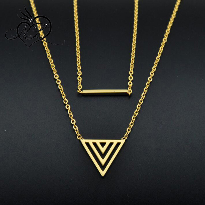 Stainless steel triangle double necklace pendant fashion new styles necklaces personality different necklaces