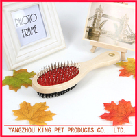 Double sided durable dog comb wood pet dog brush for hair clean