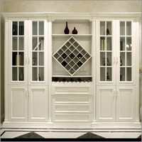 White Luxury Wooden Display Cabinet Designs for Living room Vila004-2