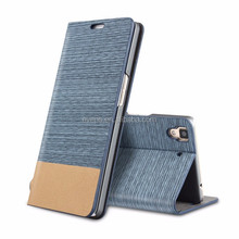 Card Holder Slot Mobile Canvas Flip Leather Book Folio Phone Case for Sony WT13I