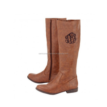 High Quality Genuine Leather Women Monogrammed Riding Boots In Stock