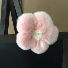 Genuine Rabbit Fur Ball Flower Elastic Hair Band Hairpin