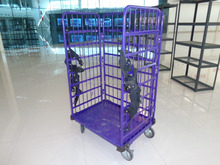 Large Warehouse Steel Storage Colorful Foldable Roll Cage Trolley