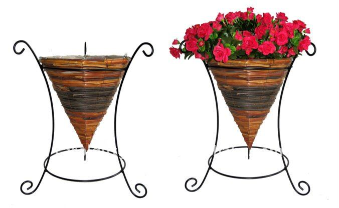 Fern and Rattan Cone planter wire stand - Wrought iron flower stand