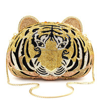 Top quality tiger king head crystal evening bag for ladies