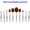 10pcs Professional Cosmetic Makeup Brush Set, Soft Oval Makeup Brush