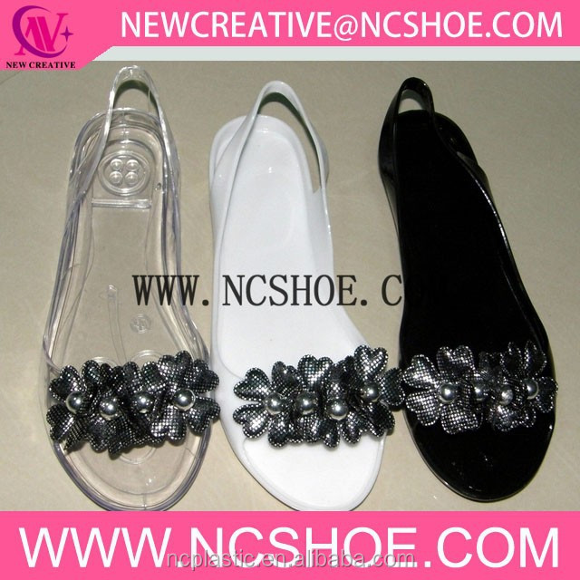 ladies transparent jelly sandals with marble flower