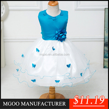 MGOO Top Quality Stock Girl's Blue Party Dress Ball Gown With Butterfly Kids Gown pictures c102