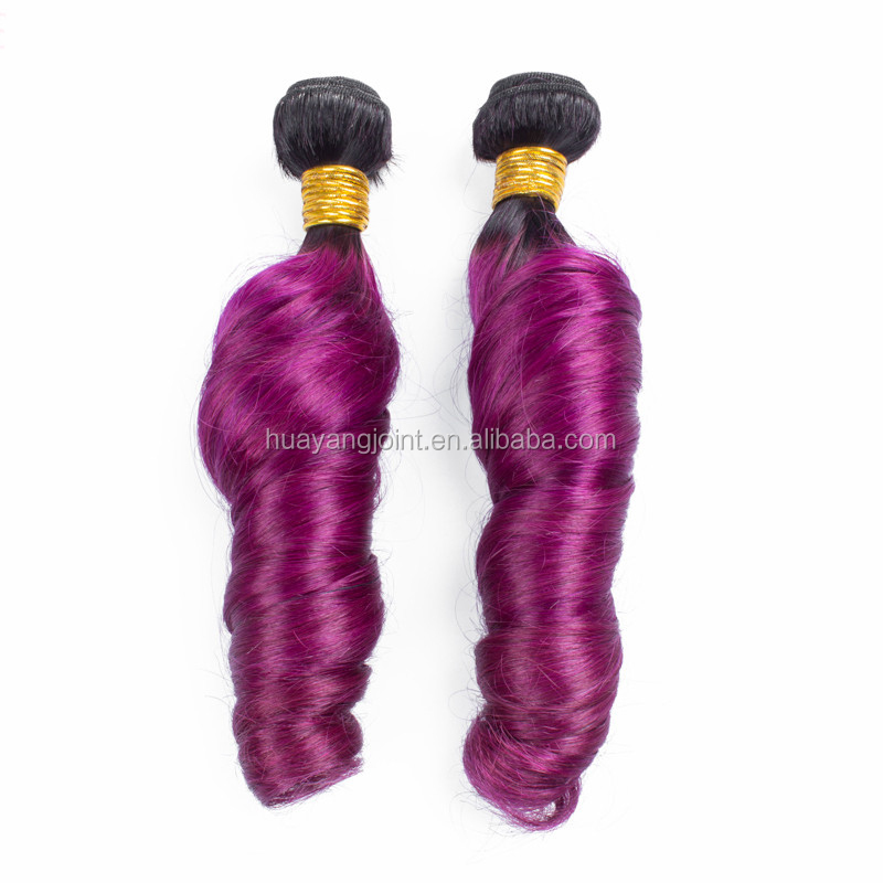 Cheap Malaysian Candy Curl Unprocessed Virgin Hair Extension Ombre #1b/Purple From Huayang Hair